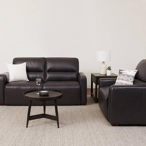 Canapé incl.en cuir Encore -Bram charbon