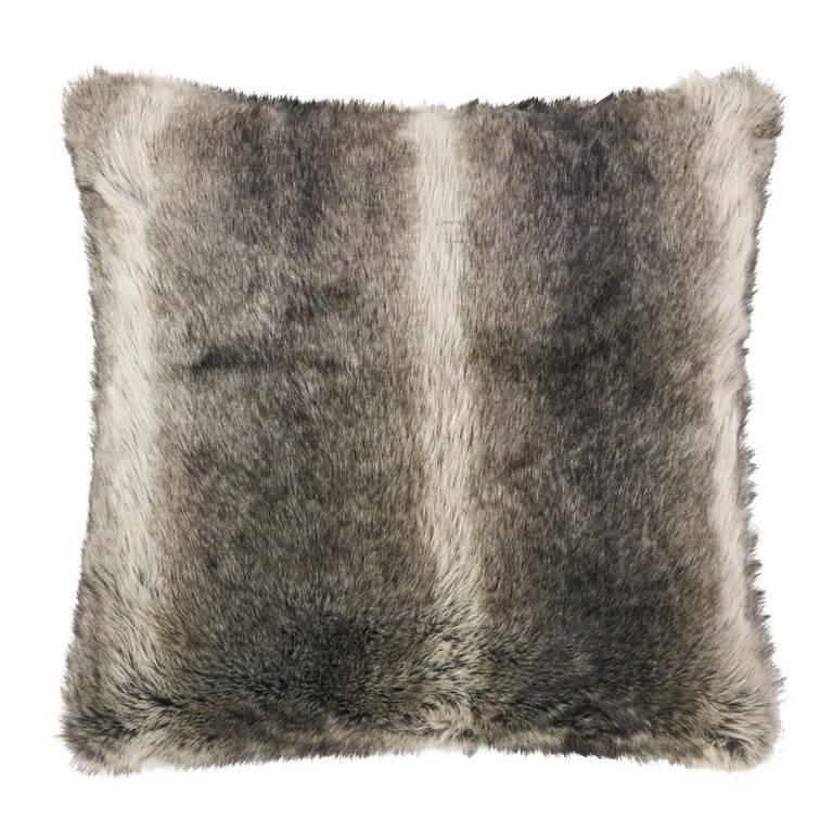 Fauna Faux Fur Toss 24x24 Grey Wolf