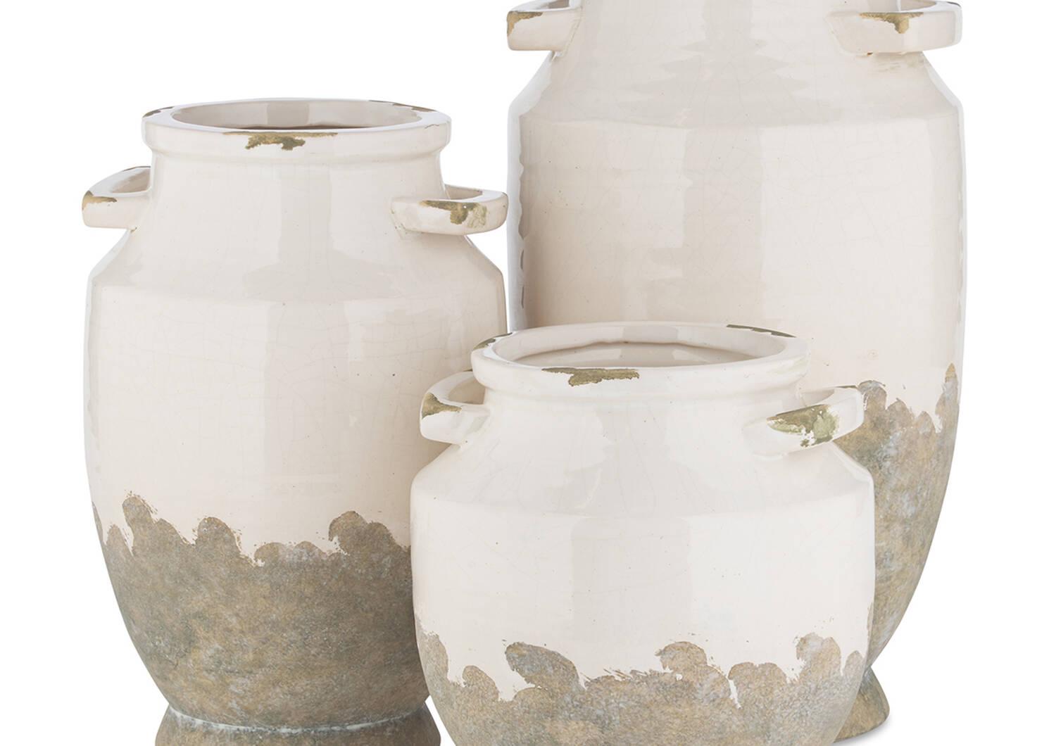Vase moyen Emmaline blanc/gris