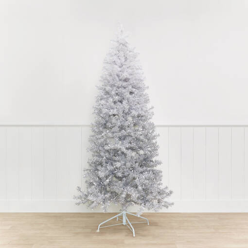 Claus Tree 7ft Pre-lit LED Ombre Grey