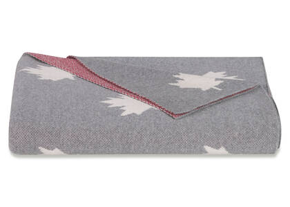 National Leaf Throw Grey/Natural/Red