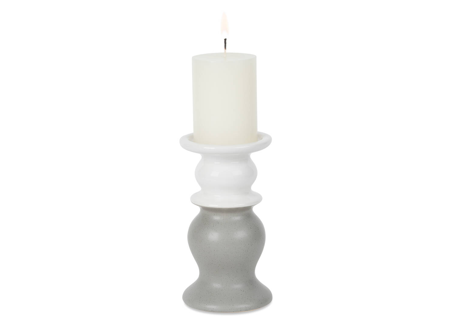 Abbott Candle Holder Small White/Steel