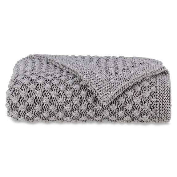 Ellie Cotton Throw Light Grey