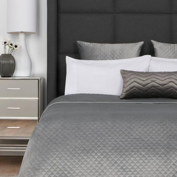Cosmo Velvet Bedspread Pebble