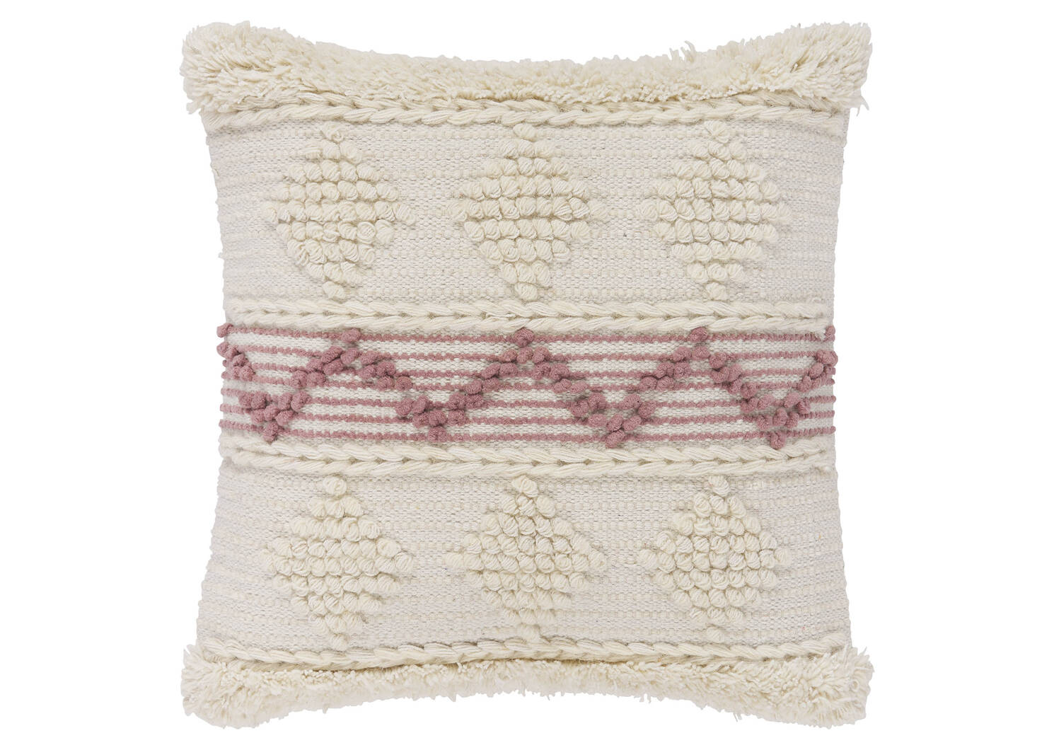 Coussin Andalusia 20x20 ivoire/fard