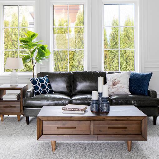 Savoy Leather Sofa -Jasper Graphite