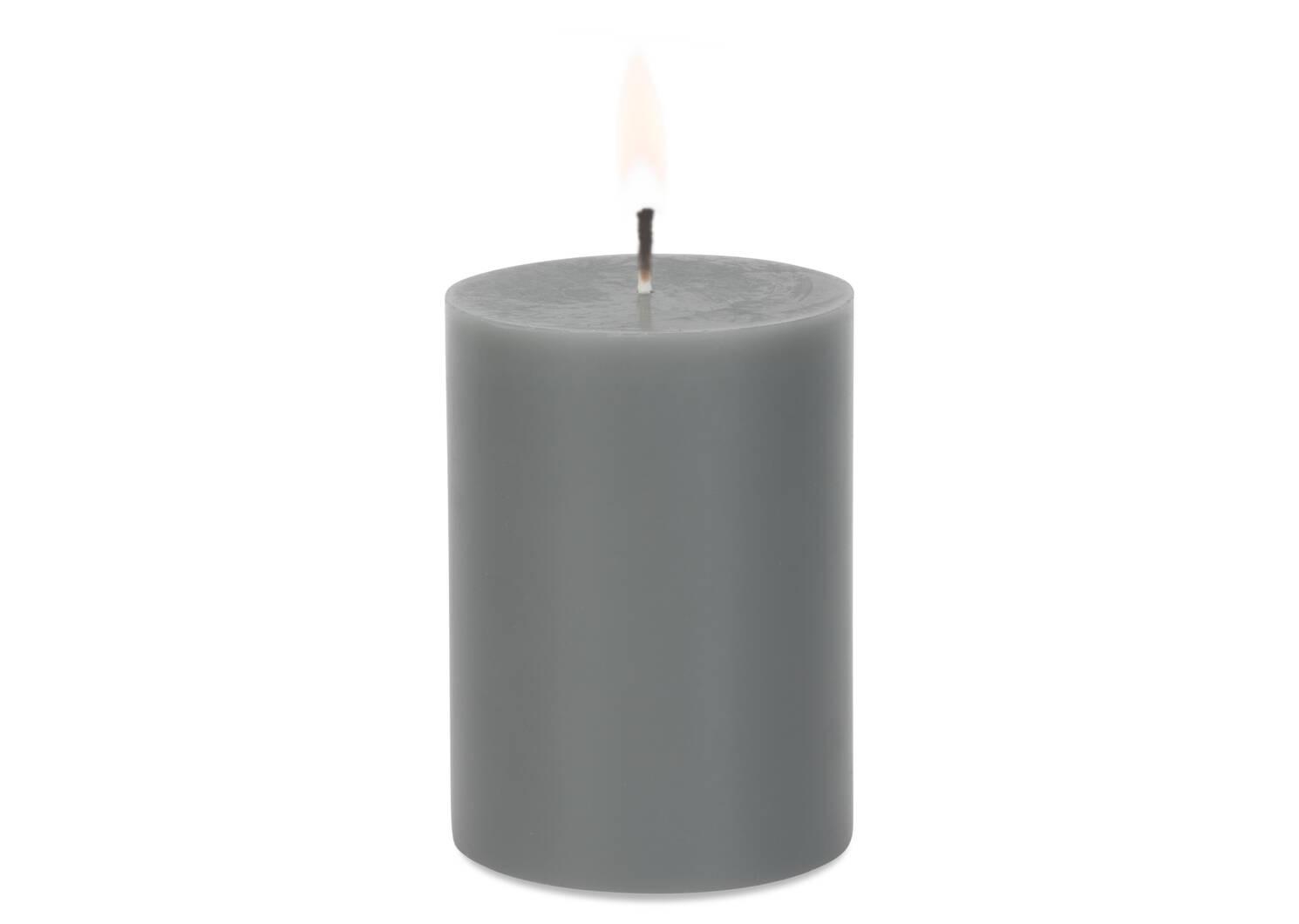 Bougie non-parfumée Cassa 3x4 grise