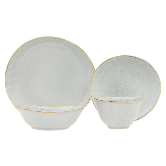 Crofton Glazed 16pc Dish Set Light Grey