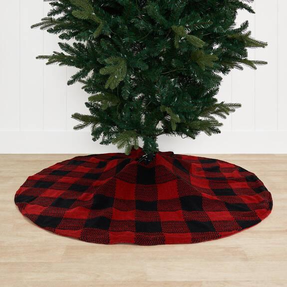 Carolina Plaid Tree Skirt Black/Red