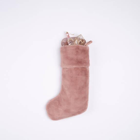 Flora Faux Fur Stocking Ballet Pink