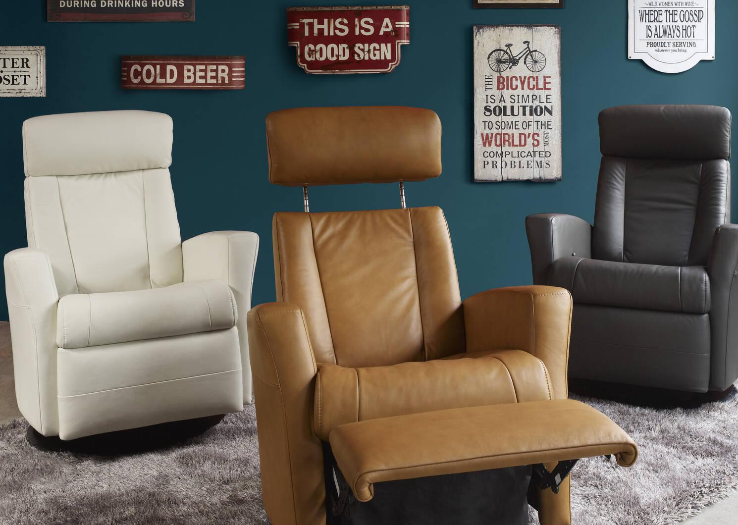 Belvedere Leather Recliner -Tre Graphite