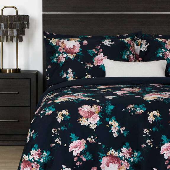 Fleur Duvet Set Queen Midnight