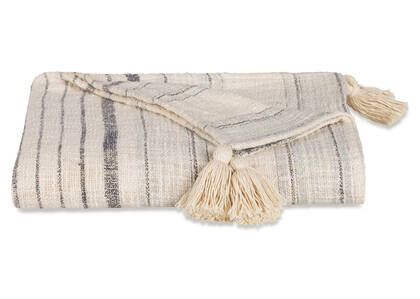 Artesia Stripe Throw Ivory/Blue