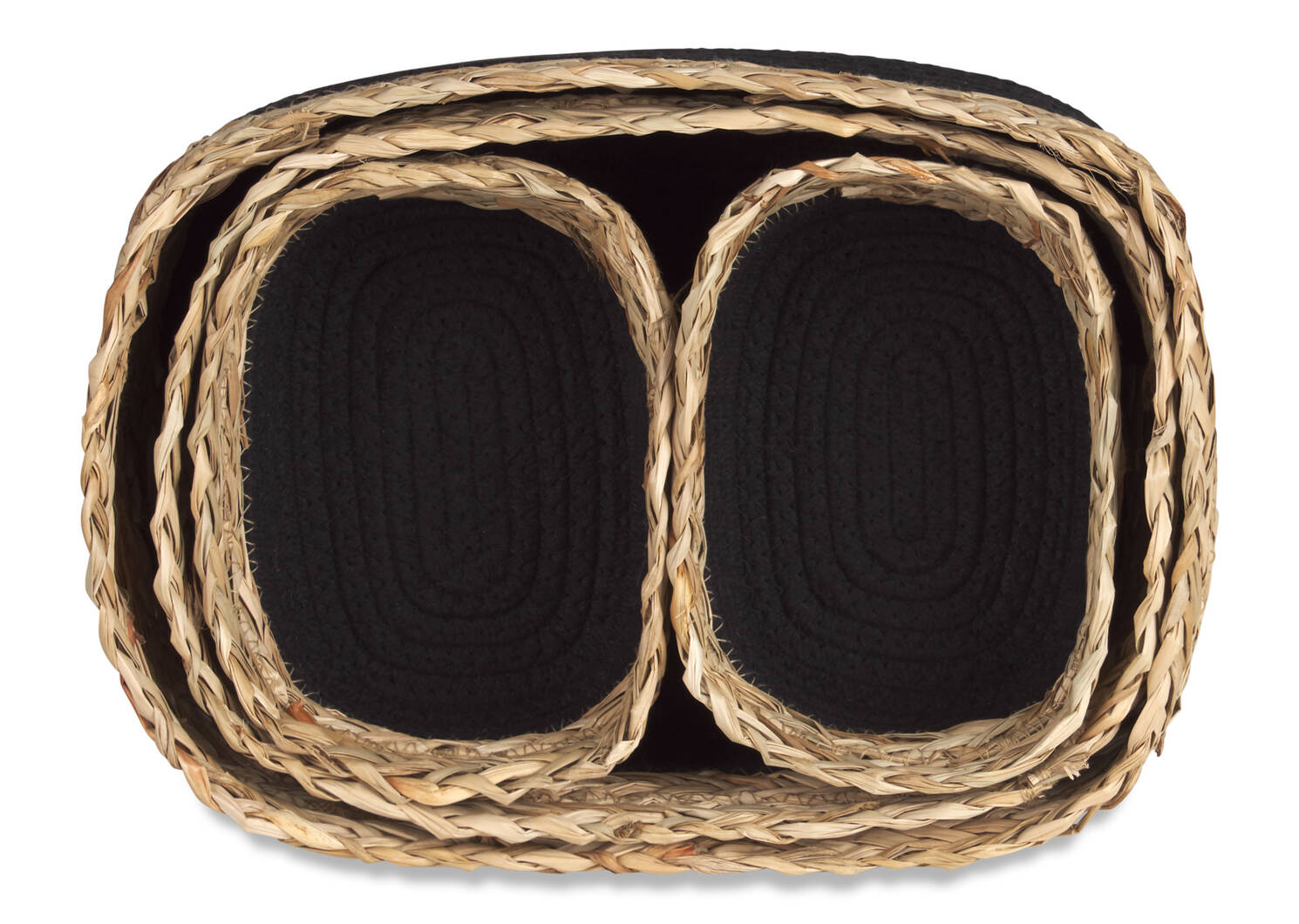 Racquel Basket Set Natural/Black