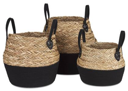 Racquel Baskets Natural/Black