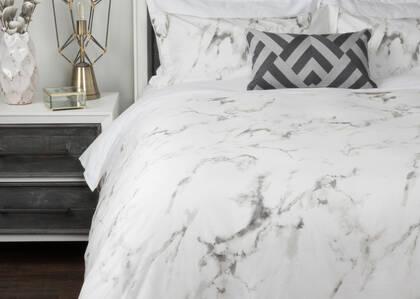 TG ens housse couette Carrara blanc/gris