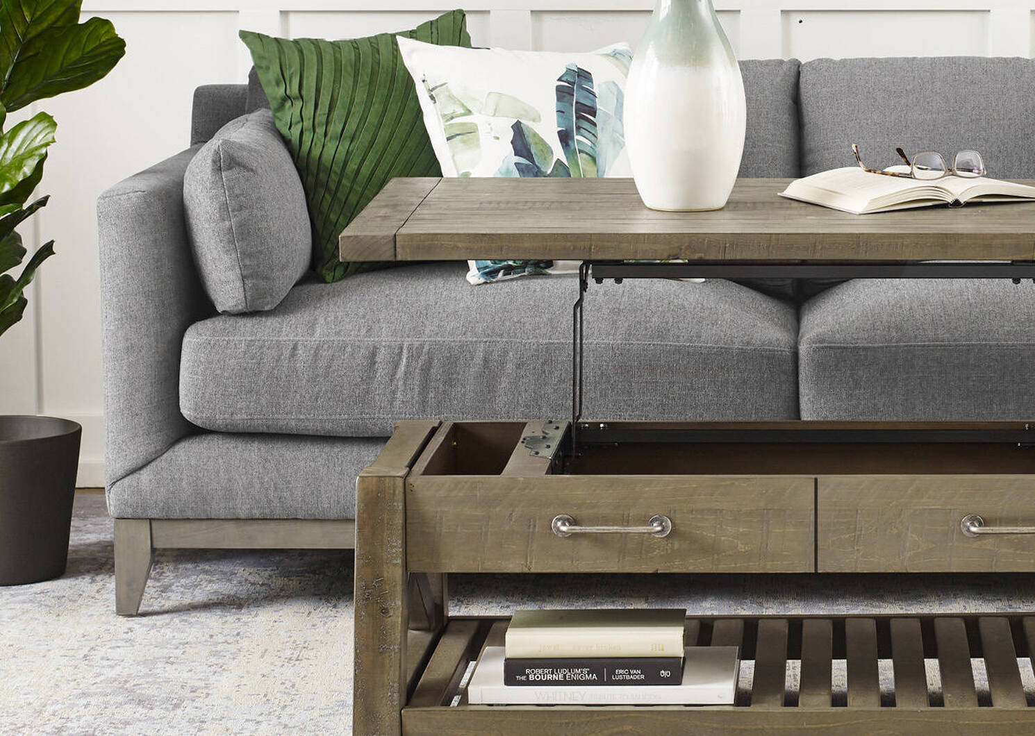 Ironside Lift-Top Coffee Table -Rustic