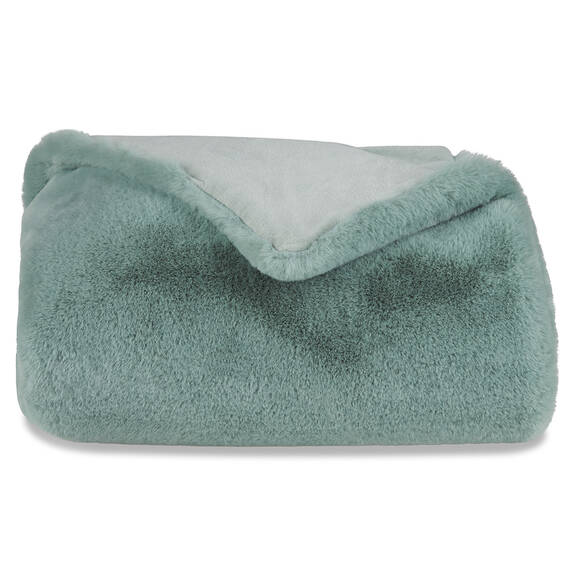 Flora Faux Fur Throw Blue Sage