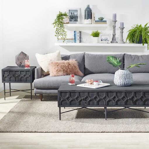 Amirah Side Table -Grey Pine