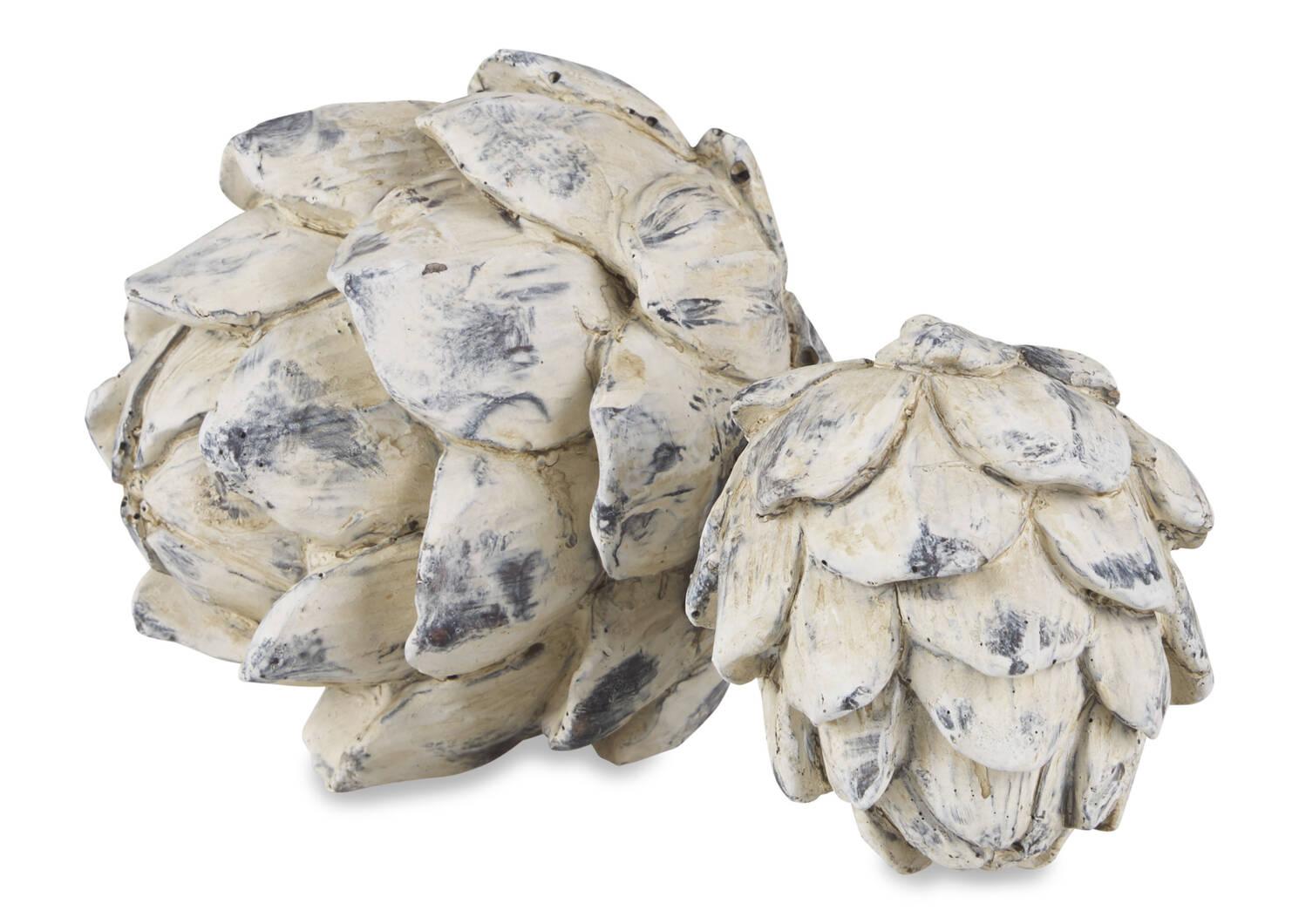 Boules décoratives d'artichaut Ruta -blanches