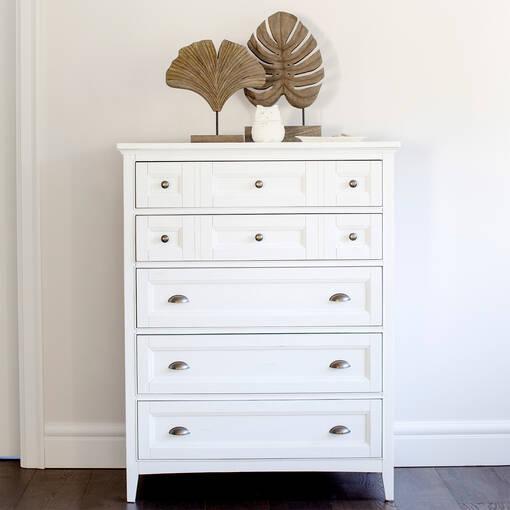 Parker 5 Drawer Chest -Heron White