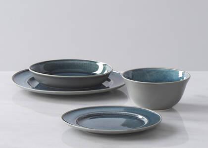 Service vaisselle Kitsilano 16 p. bleu