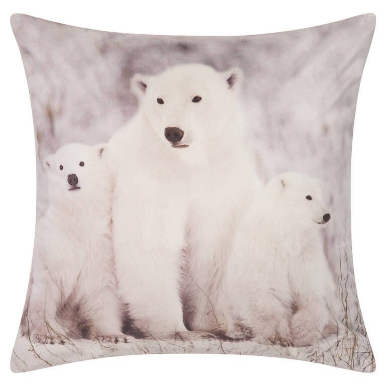 Coussin Polar Bear Family 20x20 blanc