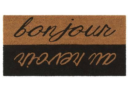 Bonjour Au Revoir Doormat Grey/Natural