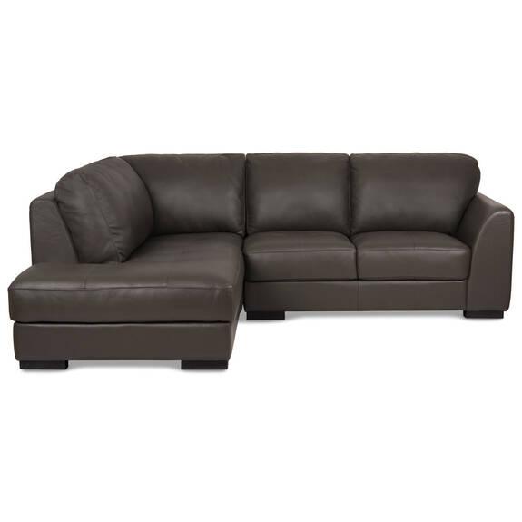 Boone Leather Condo Sofa Chaise -Grey