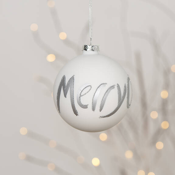 Ornement boule Merry Christmas blanc
