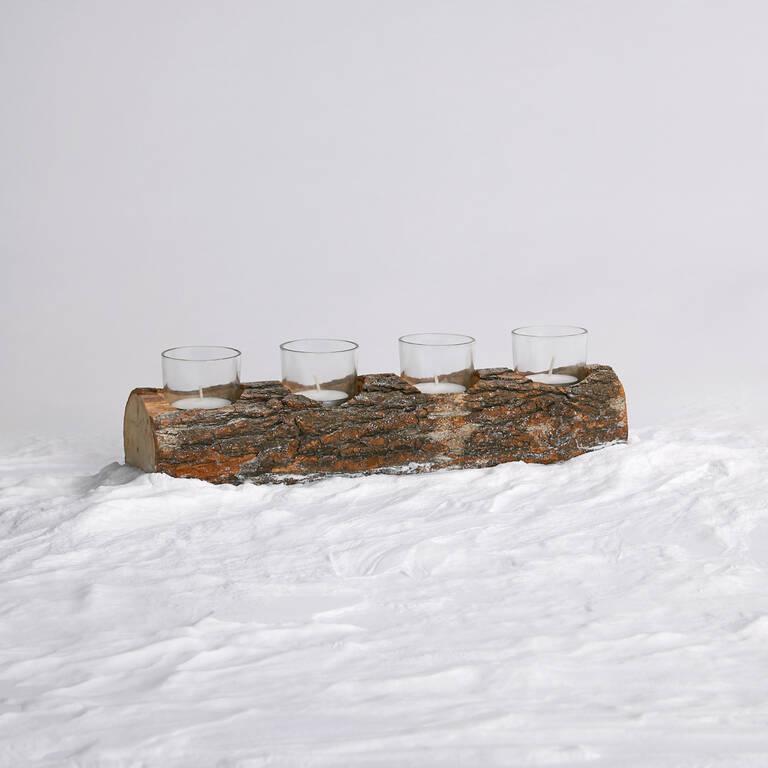 Porte-lumignon court Woodlyn naturel