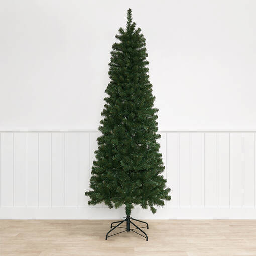 Claus Tree 7.5ft Slim Pre-lit LED Gre