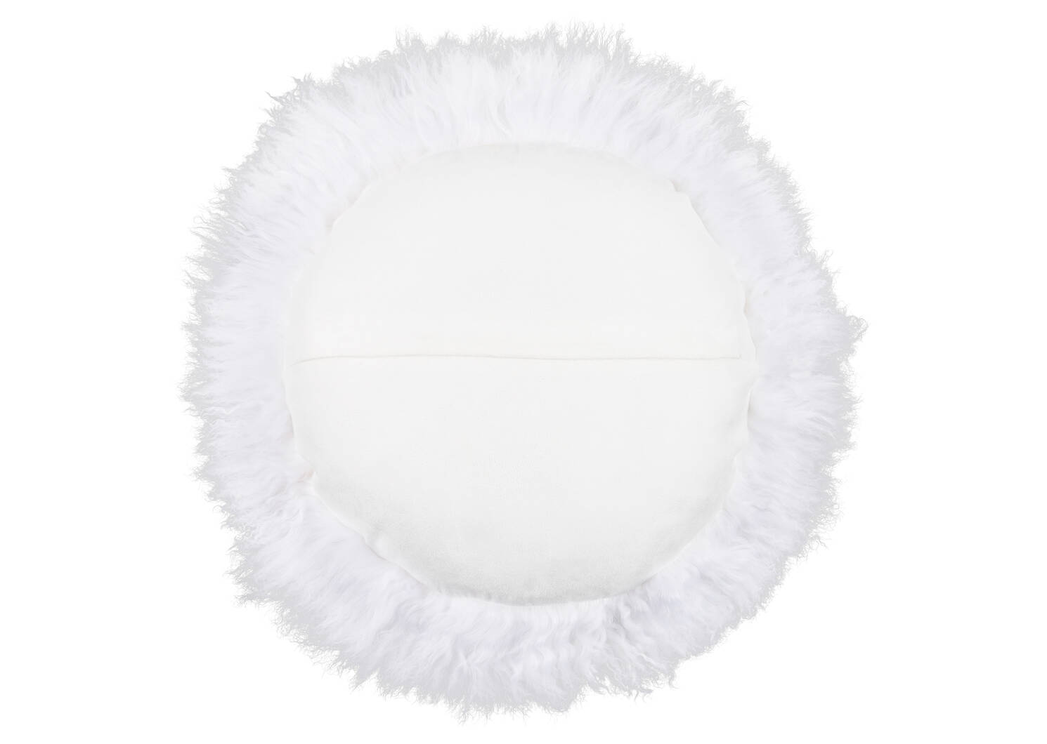 Coussin rond Mongolian 16x16 blanc