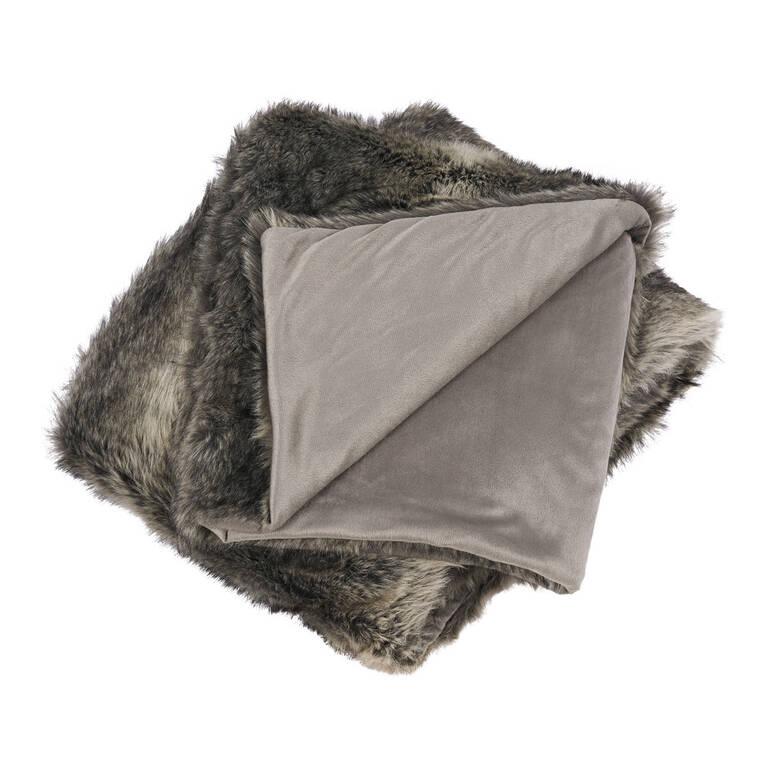 Fauna Faux Fur Throw Grey Wolf