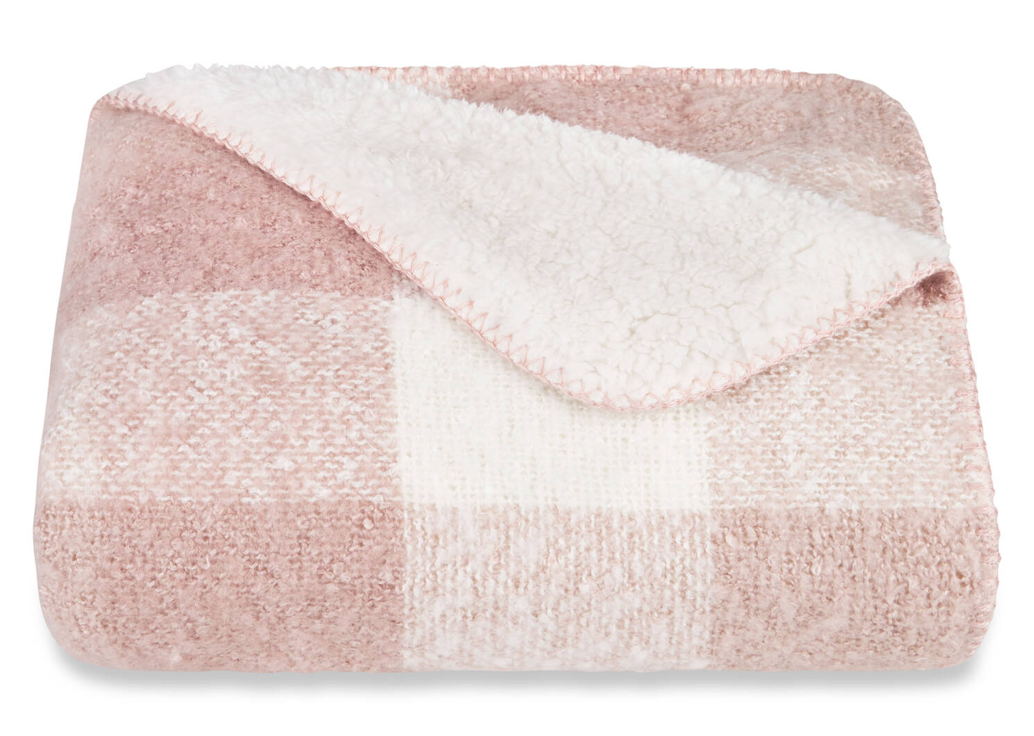 Becca Sherpa Throw Ballet Pink Plaid