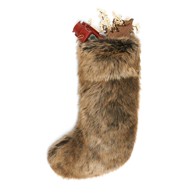 Fauna Faux Fur Stocking Sable