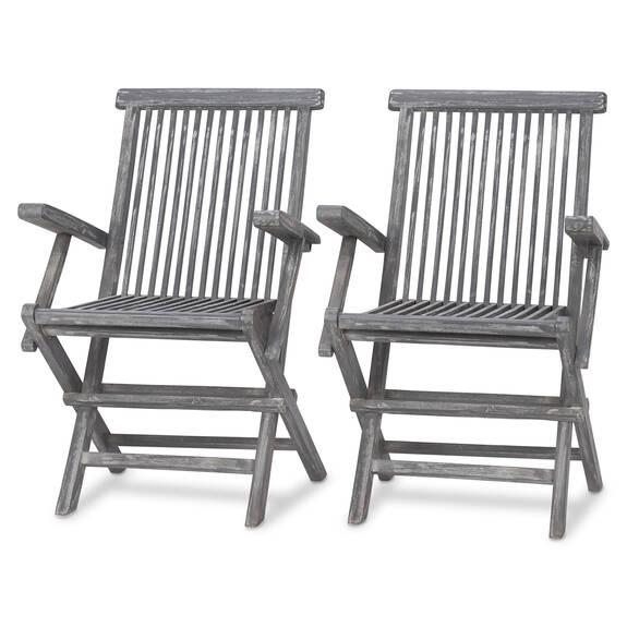 Galiano Arm Chairs S/2 -Teak Grey