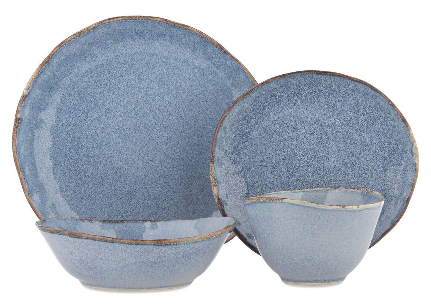 Crofton Glazed 16pc Dish Set Blue