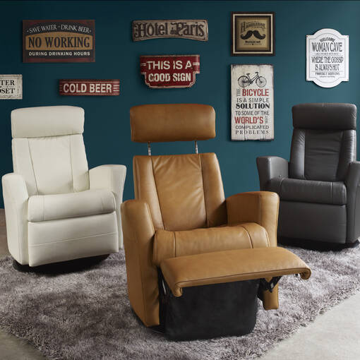 Belvedere Leather Recliner -Tre Graphite