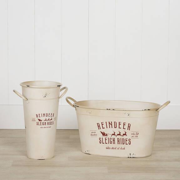 Reindeer Sleigh Rides Buckets - White