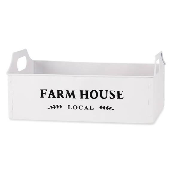 Cageot moyen en métal Farmhouse blanc