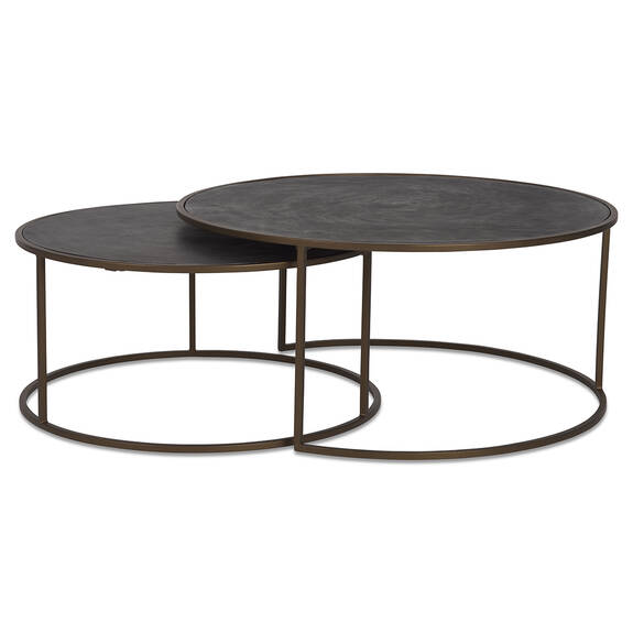 Hemsley Nesting Coffee Table Set -Brass