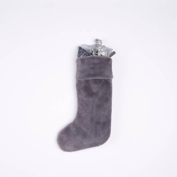 Flora Faux Fur Stocking Grey