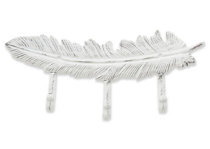 Ruffled Feather Wall Hook White