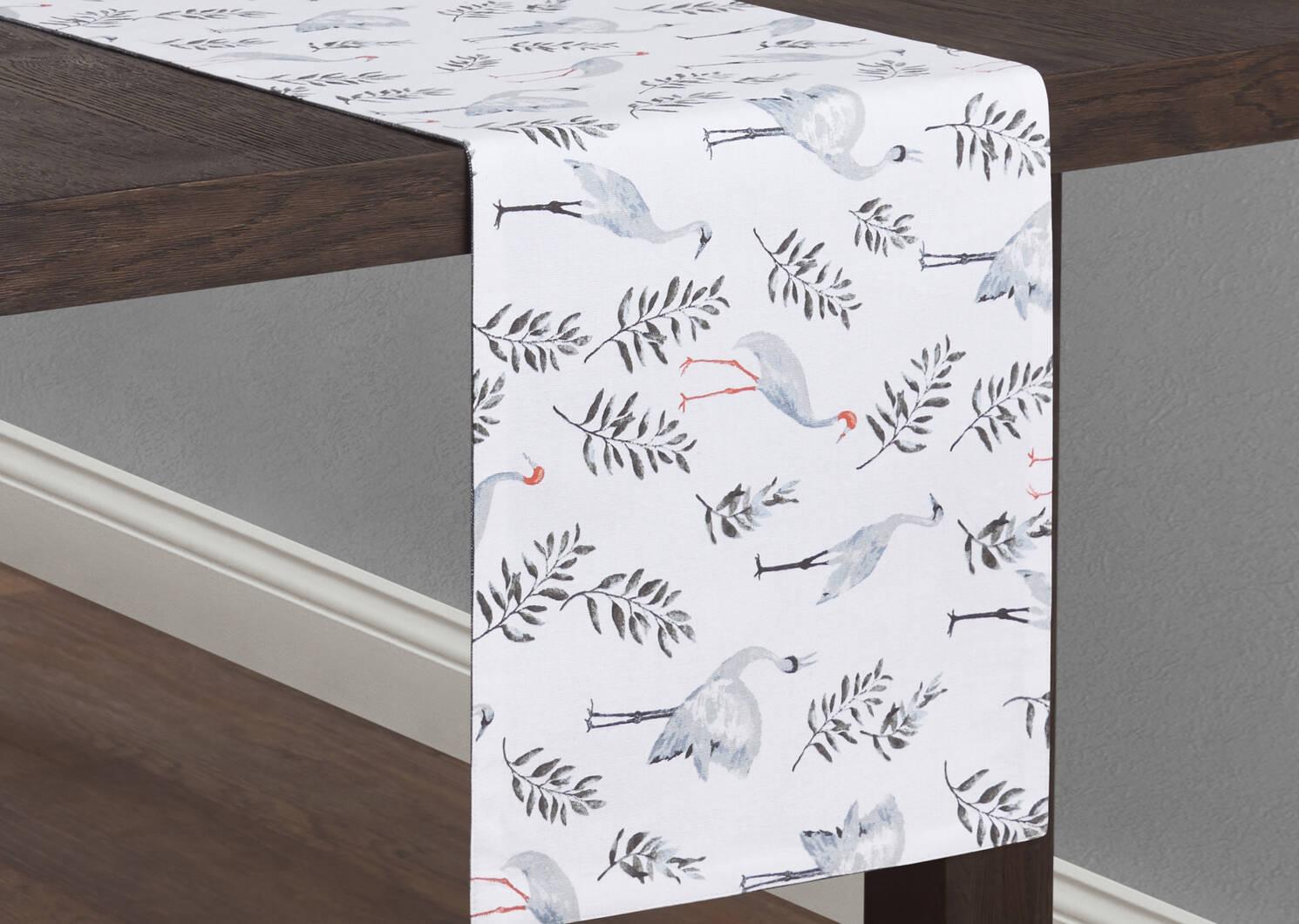 Crane Table Runner White/Grey