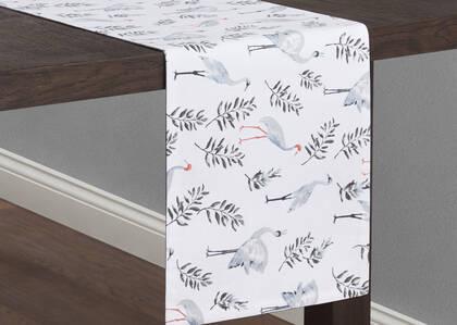 Chemin de table Crane blanc/gris