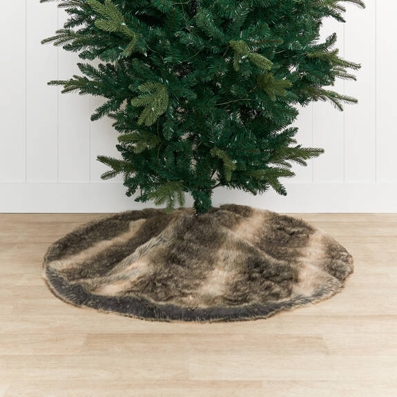 Fauna Faux Fur Tree Skirt Grey Wolf