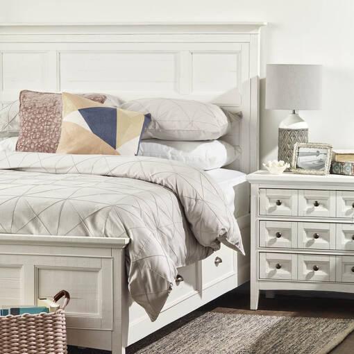 Parker Storage Bed -Heron White, KING