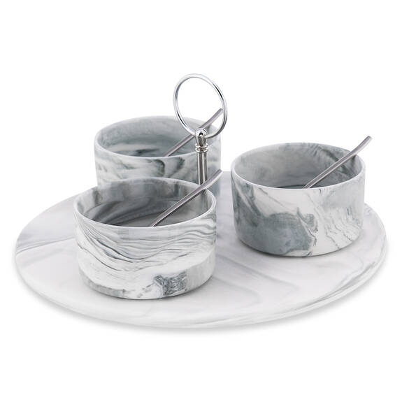 Carrara 7pc Tapas Set w/ Rd Tray Nickel
