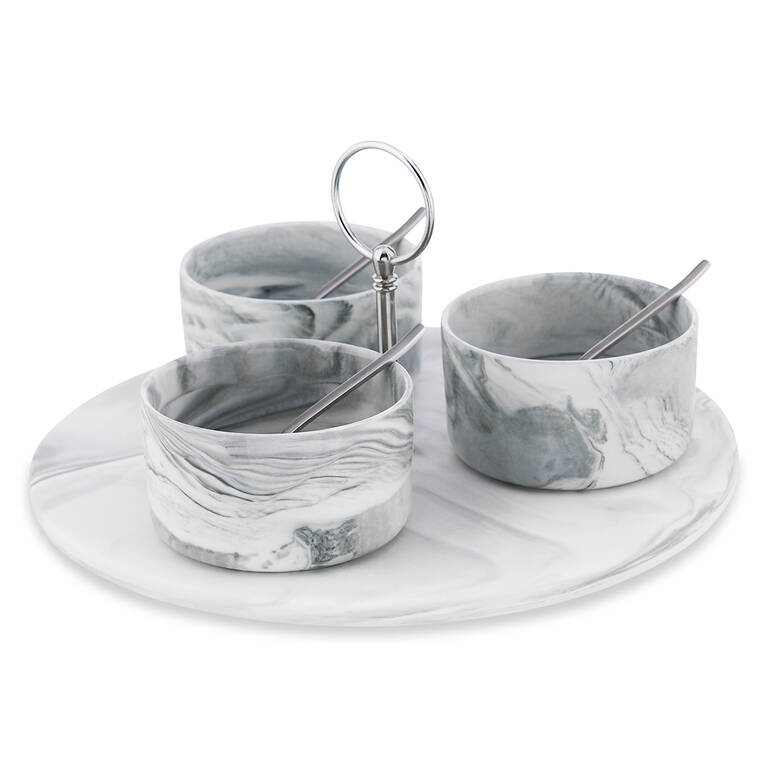 Carrara 7pc Tapas Set w/ Rd Tray Nickel